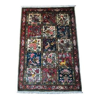 Garden Windowpane Vintage Persian Sarouk Mid-Century Handwoven Rug - 3′6″ × 5′ For Sale