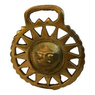 Vintage Brass Saddle Hardware With Sun Starburst Design For Sale