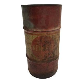Vintage Industrial Metal Oil Barrel - Kendall Advertising For Sale