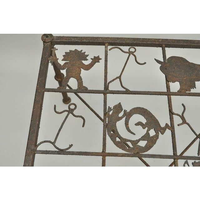 Gray Metal and Glass Square Brutalist Coffee Table With Native American Glyph Figures For Sale - Image 8 of 11