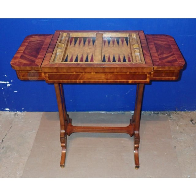 20th Century Federal Maitland Smith Reversible Inlaid Game Table For Sale - Image 10 of 11