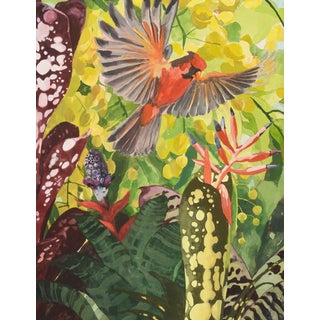 "Laurie Flaherty ""Rare Amazing Things"" Contemporary Flora and Fauna Gouache Painting For Sale"