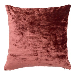FirmaMenta Italian Coral Pink Lush Crushed Velvet Pillow For Sale