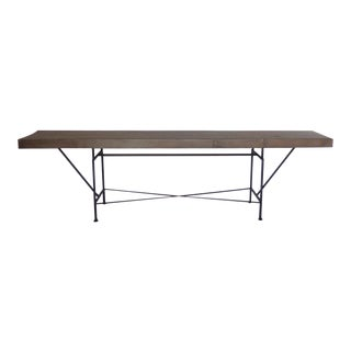 Long Skinny Reclaimed Wood Console Table With Iron Base For Sale