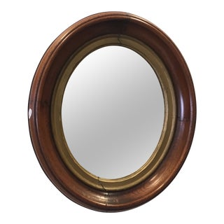 Vintage Oval Mirror With Gilded Wooden and Golden Oval Frame For Sale