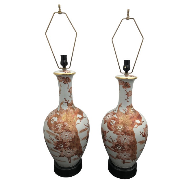 1960s Mid Century Japanese Peacock Kutani Lamps - a Pair For Sale