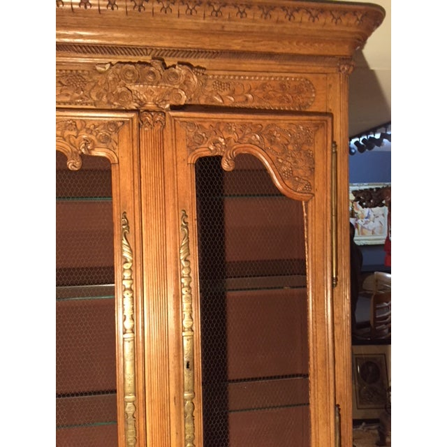 Late 19th Century 19th Century French Carved 2 Door Chicken Wire Vitrine For Sale - Image 5 of 12