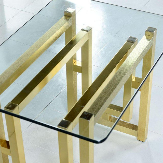 Milo Baughman Pair of Hollywood Regency Mid-Century Modern Milo Baughman Gold Brass End Tables For Sale - Image 4 of 8