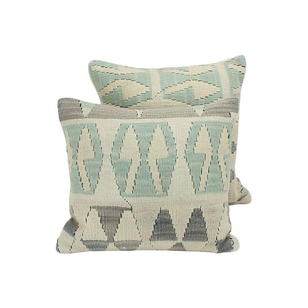 Geometric Turkish Kilim Throw Pillows - A Pair - Image 1 of 4