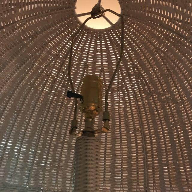 Mid-Century White Wicker Floor Lamp - Image 6 of 6