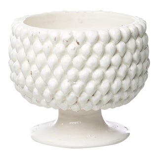 Vinci Pine Cone White Ceramic Planter, Small