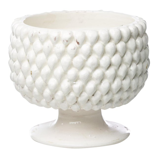 Vinci Pine Cone White Ceramic Planter, Small For Sale