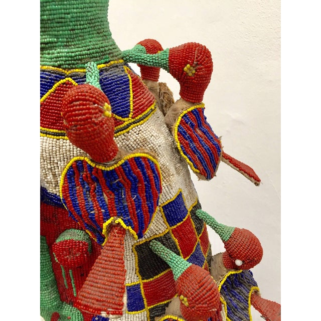 Yoruba Nigeria African Royal Beaded Headdress Crown on Stand For Sale - Image 12 of 13