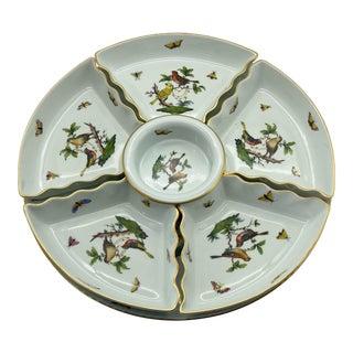 Vintage Herend Rothschild Bird Hors D'Oeuvres Serveware - Set of 7 For Sale