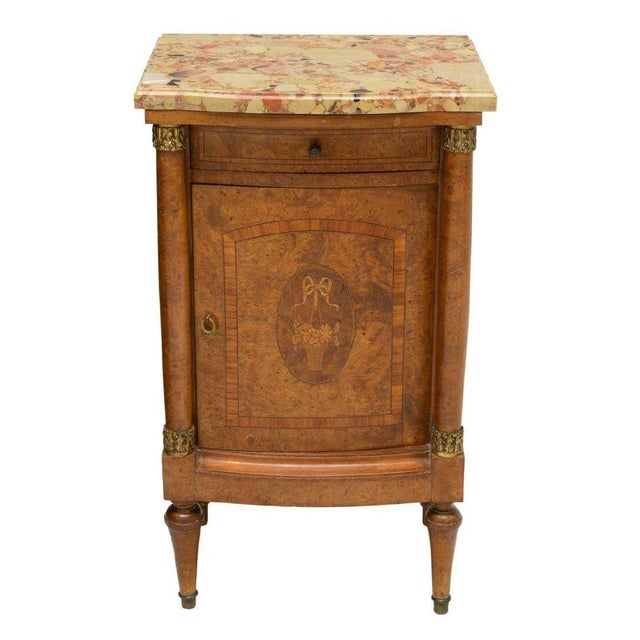 19th Century Empire Burl Walnut Marquetry Marble Top Antique Bedside Cabinet or Side Table For Sale - Image 13 of 13
