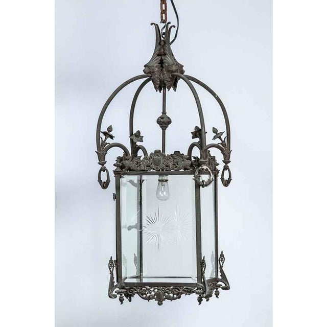 1930s square bronze lantern with etched glass.