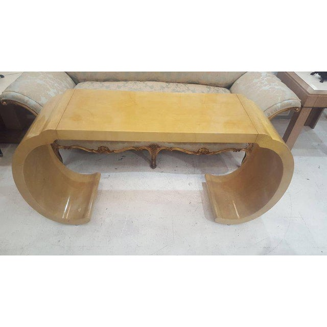 Sculptural lacquered console table.