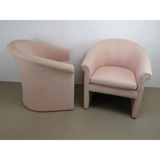 Pink 1960s Milo Baughman Style Muted Rose Pink Barrel Back Tub Chairs - a Pair For Sale - Image 8 of 13
