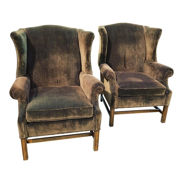 Ethan Allen Chocolate Brown Velvet Wingback Chairs- a Pair For Sale