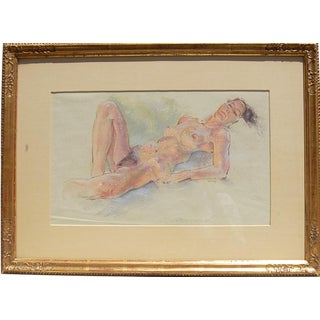 Sleeping Nude Pastel Drawing Around Mid-Century Signed Weecks