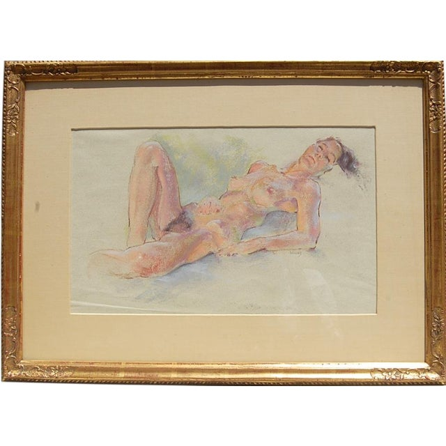 Sleeping Nude Pastel Drawing Around Mid-Century Signed Weecks For Sale