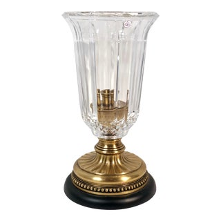 Mid 20th Century Hollywood Regency Crystal Hurricane on Brass Stand For Sale