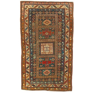 Late 19th Century Antique Russian Kazak Lambswool Rug - 3′7″ × 6′ For Sale