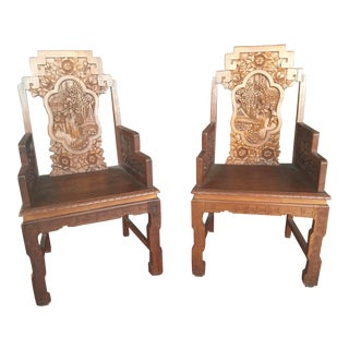 Highly Carved Chinese Chairs a Pair For Sale