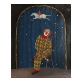 Dreaming Clown, Oil Painting by Bahunek