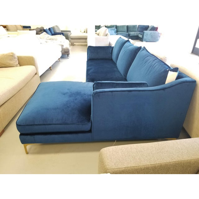 Peachy Navy Blue Velvet Sectional Sofa With Right Chaise Onthecornerstone Fun Painted Chair Ideas Images Onthecornerstoneorg