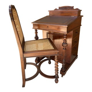 Antique Victorian Davenport Desk and Chair For Sale