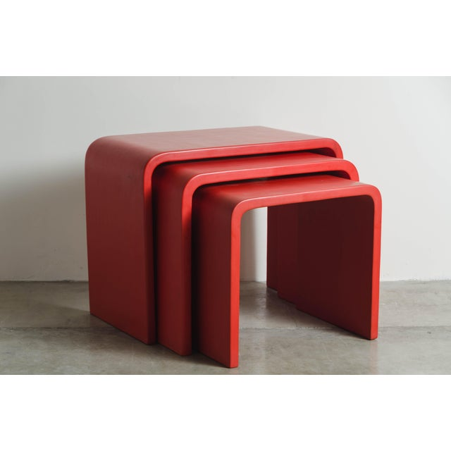 Robert Kuo Waterfall Nesting Tables - Red Lacquer by Robert Kuo, Hand Made, Limited Edition For Sale - Image 4 of 6
