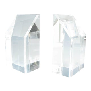 1970s Lucite / Acrylic Bookends With Beveled Edges and Slanted Top - a Pair For Sale