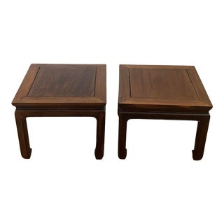 Pair of Vintage Early 20th Century Carved Chinoiserie Ming Side Tables or Benches For Sale