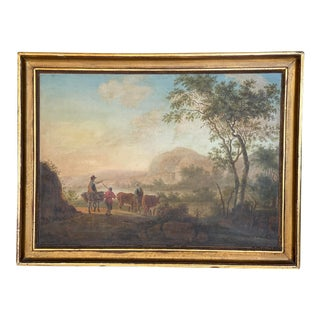 "Early 19th Century ""Départ Pour Les Champs"" French School Oil Painting, Framed For Sale"