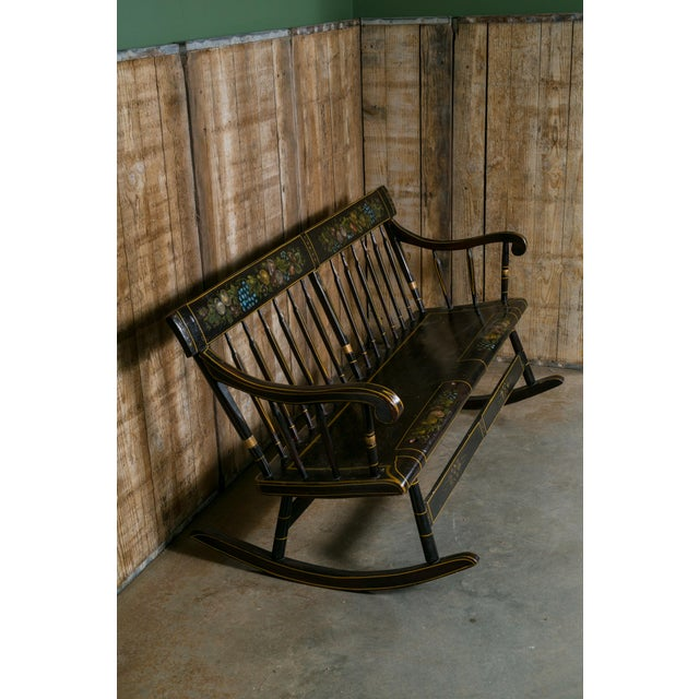 American Wooden Mammy Bench Rocker, circa 1890, Hand-Painted by Lew Hudnall For Sale - Image 5 of 7