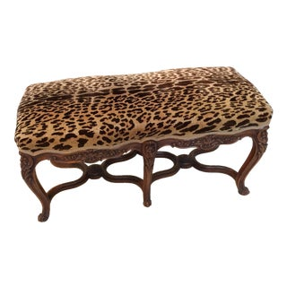 Scalamandre Leopard Velvet Upholstered Walnut French Bench
