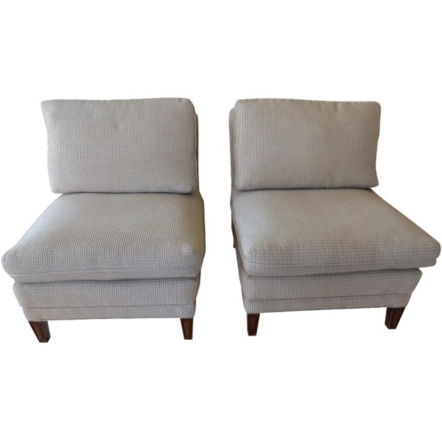 Vintage Mid-Century Twill Accent Chairs - A Pair - Image 1 of 11