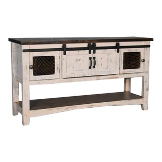 Crafters and Weavers Greenview Sliding Door Console Table - Distressed White For Sale
