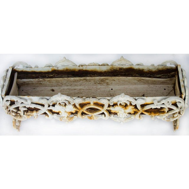 French Antique Rusty Cast Iron Rectangular Planter For Sale - Image 3 of 7