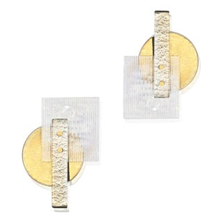 Italian Abstract Modern Gold Silver and Crystal Murano Glass Sconces - a Pair - in Showroom