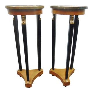 French Empire Marble Top Pedestals - a Pair For Sale