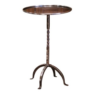 Mid-20th Century French Style Polished Iron Pedestal Martini Side Table For Sale