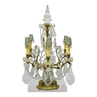 French Louis XVI Bronze & Crystal Prism Girandole Electrified Candelabra Lamp For Sale