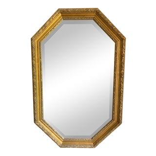 Gold Framed - Beveled Glass Octagonal Mirror For Sale