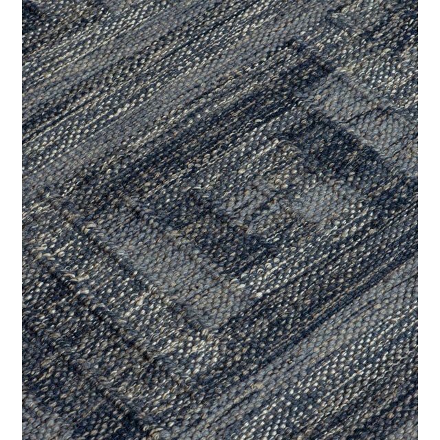 2010s Swedish Flat-Weave Inspired Handwoven Wool Rug For Sale - Image 5 of 6