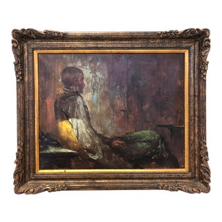 Piazzo, Portrait of a Seated Figure, Oil on Canvas For Sale