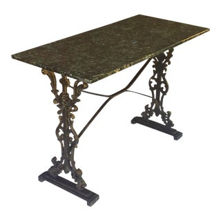 English Pub or Bistro Tables of Cast Iron with Granite Top (Pair Available) For Sale