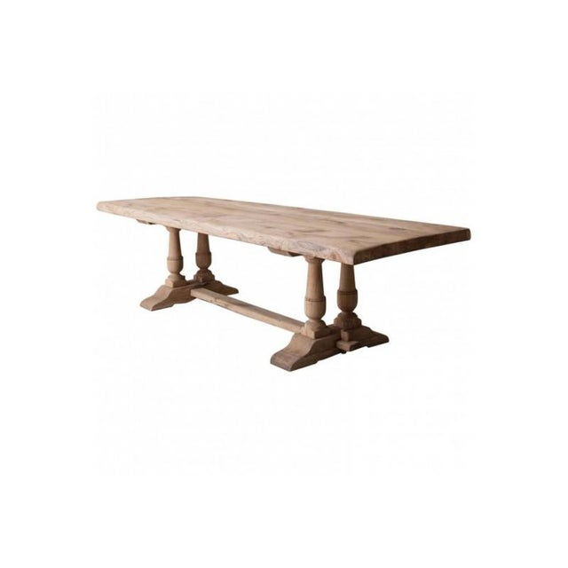 19th Century French Large Bleached Oak Provençal Style Trestle Table For Sale - Image 13 of 13