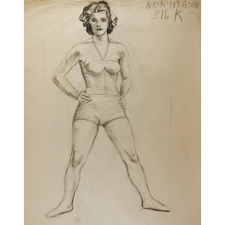 1950's Studio Drawing Female Figure Study For Sale